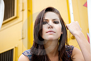 Edgy Girl With Yellow Backround Royalty Free Stock Photography - Image: 9889087