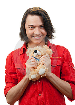Young Guy With His Loved Toy Stock Photography - Image: 9893192