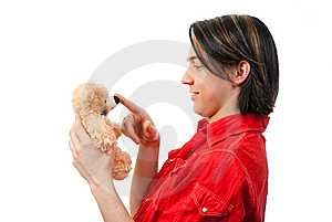 Young Guy With His Loved Toy Royalty Free Stock Images - Image: 9893219