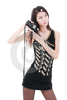 Asia Girl Holding Exposure Meter Royalty Free Stock Photo - Image: 9893955