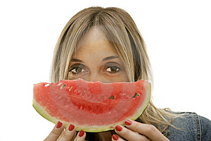 Woman About To Enjoy Slice Of Watermelon Stock Photography - Image: 9894032