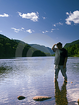 Man And River Landscape Royalty Free Stock Photo - Image: 9894525