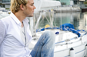 Young Man At A Yachtclub Stock Photo - Image: 9896130