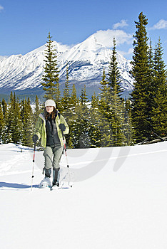 Woman Snowshoeing In The Canadian Rockies Royalty Free Stock Photos - Image: 9898388