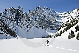 Woman Snowshoeing In The Canadian Rockies Royalty Free Stock Images - Image: 9898519
