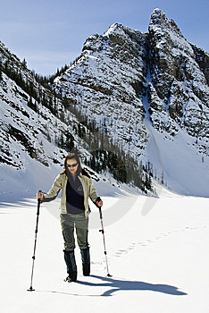 Woman Snowshoeing In The Canadian Rockies Stock Photo - Image: 9898530