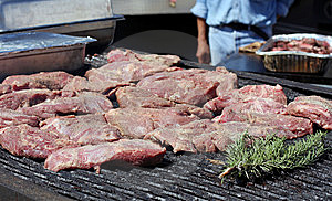 Steaks On An Outdoor Grill Royalty Free Stock Image - Image: 9899896