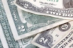 Two Dollar Bills - Horizontal Royalty Free Stock Images - Image: 997059