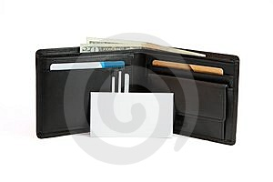 Business Card In Front Of Black Wallet Isolated Stock Image - Image: 9900461