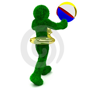 3D Man Holds The Beach Ball Isolated On White. Stock Images - Image: 9901354