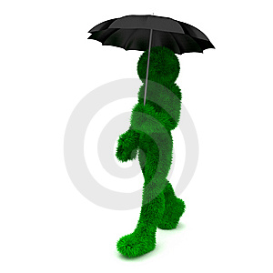3D Man Holds An Umbrella Isolated On White. Royalty Free Stock Images - Image: 9901819