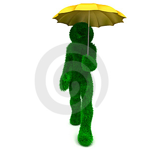 3D Man Holds An Umbrella Isolated On White. Royalty Free Stock Photos - Image: 9901838
