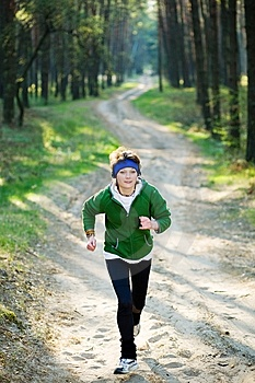 Girl Runner In The Forest Stock Images - Image: 9906374