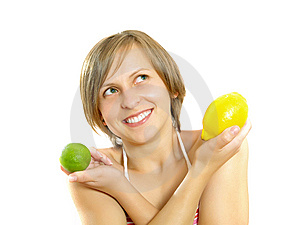 Happy Cute Girl With Lemon And Lime Royalty Free Stock Images - Image: 9909359