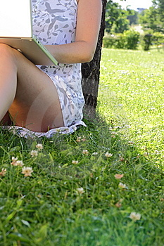 With Laptop In Meadow Royalty Free Stock Photo - Image: 9911845