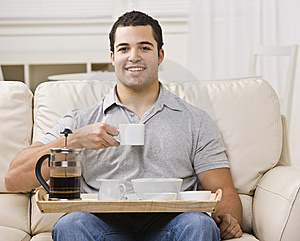 Man With Breakfast Tray And Coffee Royalty Free Stock Images - Image: 9913939
