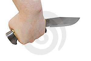 Knife In Hand (with Clipping Path) Stock Image - Image: 9919411
