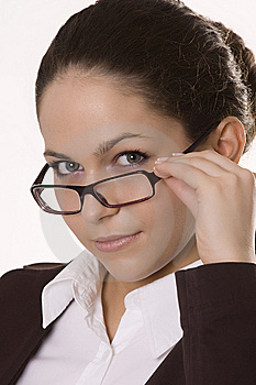 Beautiful Woman Wearing Glasses Stock Photo - Image: 9925470