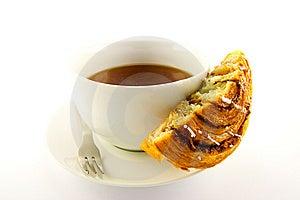 Half Cinnamon Bun And Tea Stock Photos - Image: 9926603