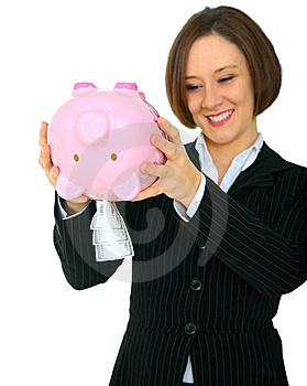 Happy Woman Taking Money Out Of Piggy Bank Stock Photography - Image: 9926772
