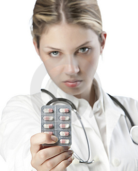 Female Doctor Handing Medicine Stock Images - Image: 9926794