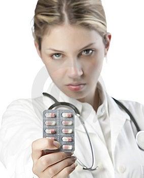 Female Doctor Handing Medicine Stock Images - Image: 9926794