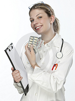 Female Doctor Handing Medicine Stock Images - Image: 9926804