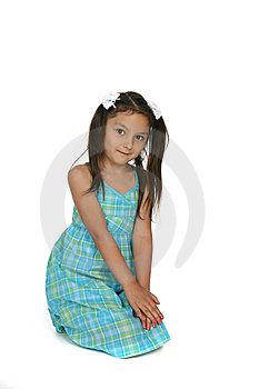 Cute Asian American Girl In Blue Plaid Dress Royalty Free Stock Images - Image: 9927679
