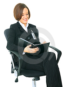 Successful Businesswoman Look At Her Agenda Stock Image - Image: 9928181