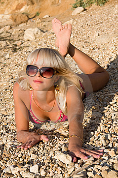 The Sexual Young Blonde Girl On A Beach Royalty Free Stock Photography - Image: 9928297