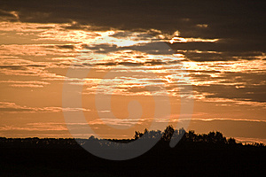Sunset On Cloudy Sky. Royalty Free Stock Photo - Image: 9932485
