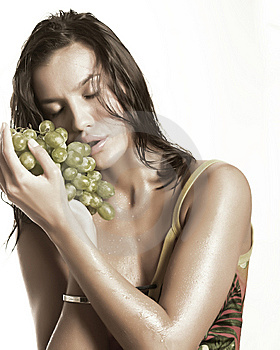 Woman With Green Grape Stock Photo - Image: 9932750