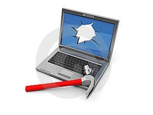Crashed Laptop Royalty Free Stock Images - Image: 9933419