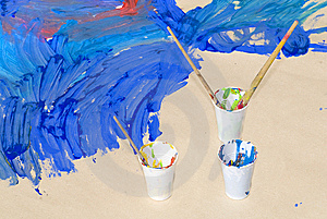 Used Paint Brushes Of Different Colors To Paint Royalty Free Stock Image - Image: 9933826