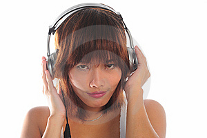 Young Asian Woman Listening Music Royalty Free Stock Photography - Image: 9936147
