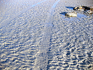 Tyre Tracks On The Beach Stock Photography - Image: 9936542