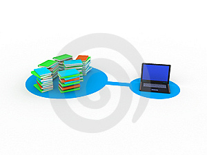 Laptop And Books Royalty Free Stock Image - Image: 9938866