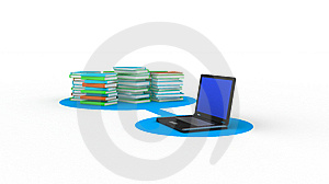 Laptop And Books Stock Photography - Image: 9938922