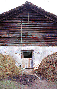 Barn With Hay Stacks,Bernese Overland. Switzerlanl Royalty Free Stock Photo - Image: 9951635
