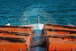 Trace On Water From A Ship Stern Royalty Free Stock Photo - Image: 9951865