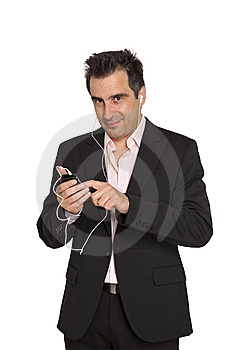 Businessman With Mp3 Player Royalty Free Stock Photography - Image: 9953147