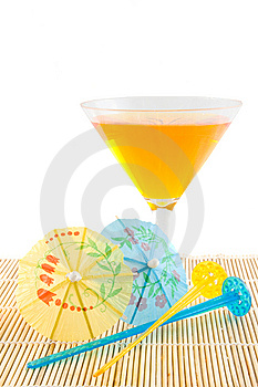 Orange Cocktail On Bamboo Placemat Royalty Free Stock Photography - Image: 9953247