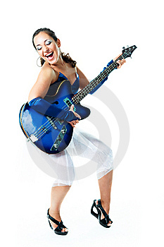 Happy Girl With A Guitar Royalty Free Stock Image - Image: 9953416