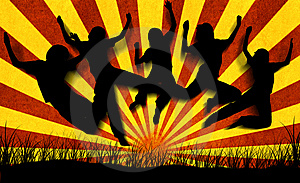 Jumping Silhouettes Royalty Free Stock Image - Image: 9953986