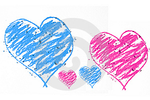 Blue An Pink Doodle Heart Stock Image - Image: 9956241
