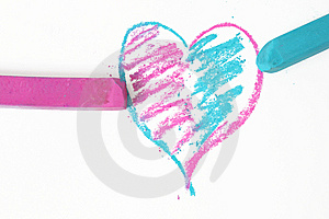 Blue An Pink Doodle Heart Stock Image - Image: 9956361