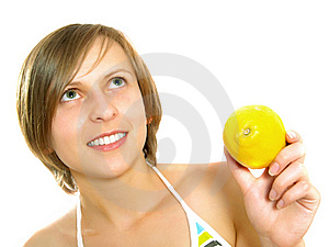 Smiling Young Lady With Lemon Stock Photos - Image: 9960243
