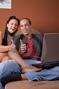 Thumbs-up From Young Couple Stock Photos - Image: 9964153