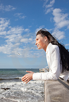 Confident Wind Sea Coast Woman Royalty Free Stock Photos - Image: 9965818