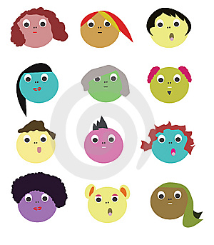 Hairstyle Faces Icons Or Avatars Stock Image - Image: 9972151